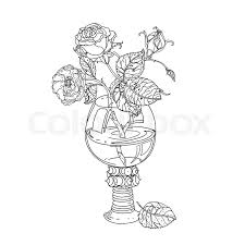 still life roses in vine gl old masters style bouquet for coloring book in zen art therapy style for anti stress drawing