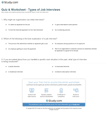 Different Types Of Job Interviews Quiz Worksheet Types Of Job Interviews Study Com