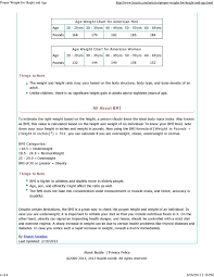 Proper Weight For Height And Age Ppt Download