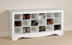 Prepac Sonoma White Shoe Storage Cubbie Bench