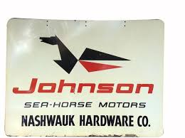 vine johnson sea horse outboard motors tin painted dealership sign with logo front