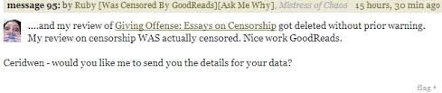latest censorship news goodreads can t take criticism badly   and my review of giving offense essays on censorship