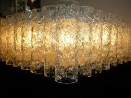 Mid Doria Century Jahre 70er 60er Glas Ice Kronleuchter Lamp