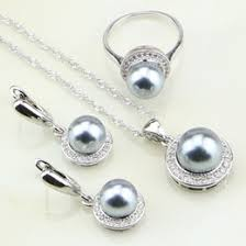 pearl jewelry settings whole australia whole 925 sterling silver jewelry white cubic zirconia round gray