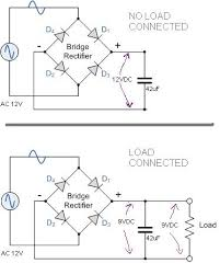12v ac to 12vdc bridge rectifier and capacitor