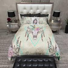 boho flower and feather bison skull duvet bedding sets