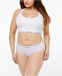 Plus Size Unlined Bralette Hipster Thong
