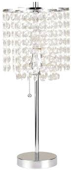 decorative cylindrical table lamp pull chain switch in chrome crystal silver ceiling light with