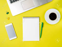desk top view. Interesting Top Banque Du0027images  Top View Of Modern Bright Yellow Office Desktop With  Blank Notepad Computer Smartphone Mock Up Empty Space Intended Desk View