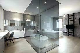 surprising glass bathroom walls beautiful bathroom with glass wall wood flooring black chair bathtub and white