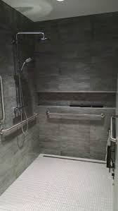 ideas shower systems pinterest: ada roll in shower grohe valve amp tile covered linear drain converted from toilet