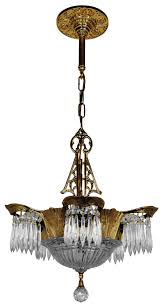 art deco crystal prism lincoln utopia chandelier