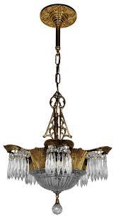art deco crystal prism lincoln utopia chandelier