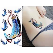 1 лист цветной водостойкая тату для тела ловец снов перьевой дизайн талии Arm