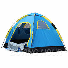 outdoor large 6 person hiking camping adventure family pop up tent blue 2 doors