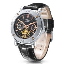 aliexpress com buy time100 automatic moon phase watch men aliexpress com buy time100 automatic moon phase watch men mechanical watches black genuine leather strap tourbillon style wrist watch reloj hombre from