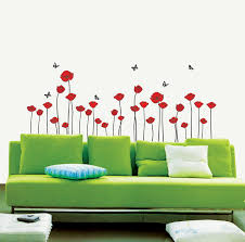 on poppy wall art stickers with 11 red poppies flower wall stickers 3 butterflies on walls