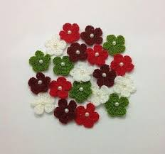 <b>20 pcs Mixed</b> Colors with Pearl Flowers Handmade Crochet Sewing ...