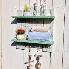 bathroom shelf storage with towel hooks