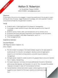 Example Resumes For Teachers Sample Resume For Teaching Assistant Job A Teacher An Example Of