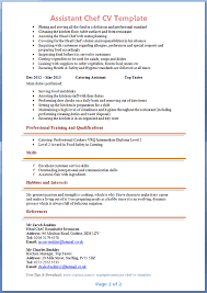 Assistant Chef Resumes Cv Template Chef Uk