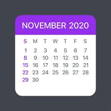 November 2020 Calendar Clip Art November Backgrounds Stock Illustrations 2 190 November