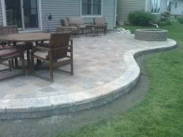 ideas contemporary house flagstone patio edging ideas with round wooden table combined with small wooden seat
