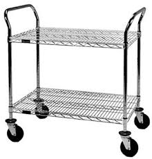 a 2 tier chrome coated wire shelving cart with two handles and four casters