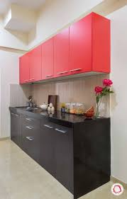 Black White And Red Kitchen Designs Modular Kitchen In Pop Colors Black Red And A Beige