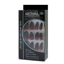 Royal Umělé Nehty Nalepovací červeno černé Lepidlem 3g Red Stiletto Nail Tips 24 Glue On False Nails Tips 24ks