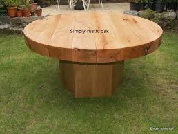 diy round outdoor table. Rustic Green Oak Beam Round Garden Table Diy Outdoor