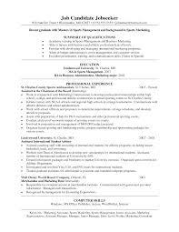Resume Cover Letter Sports Management Veganbooklover Com
