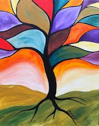 Fall Stained Glass Tree Easy Peasy Acrylic painting lesson for Beginners.  This is a Simple