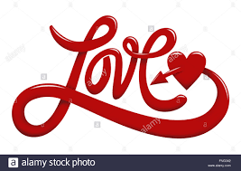 Word In Red Hand Lettering Of The Word Love In Red Color Isolated On