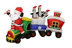 82 inflatable lighted santa express train christmas outdoor decoration walmart