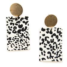 earring 627c 22 no 3 contemporary leopard leather earrings white swtrading