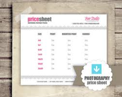 Photography Price List Prints Portrait Pricing Sheet For
