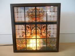 stained glass wooden light box with angel scene 1960s