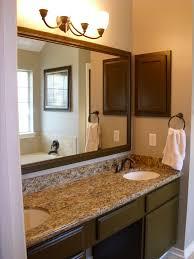 cute bathroom mirror lighting ideas bathroom. Simple Bathroom Ideas With Decorating For White Double Sink On Granite Countertop Plus Brown Mirror Frame Cute Lighting G