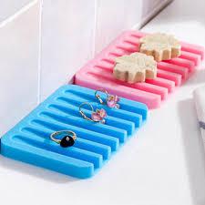 1PC Kitchen Bathroom <b>Silicone Soap Dish Plate</b> Holder Tray ...