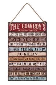 the cowboy s ten commandments plaque western decor home and wall decor