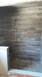 contemporary wood look tile bathroom lovely cool grain porcelain shower and river rocks ideas perfect best of six patter