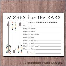 Wishes For Baby Template Baby Shower Wish List Template Wishes For Tribal Arrows The Boy Gift