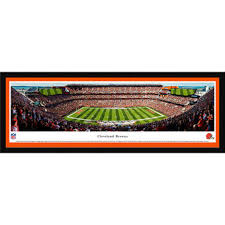 cleveland browns 42 x 15 5 50 yard line select framed panoramic on cleveland browns canvas wall art with nfl cleveland browns wall art fanatics