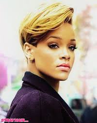 Blonde Hair Style rihanna sideswept super classy looking short hairstyle blonde dyed 7461 by wearticles.com