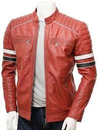 men s red leather biker jacket croyde front