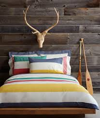 hudson s bay stripe bedding with wood trophy