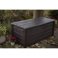 deck box bench storage seat plastic all weather resin 120 gal outdoor garden new