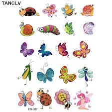 Tanglv бренд большие цвета детская татуировка бабочка тату временный