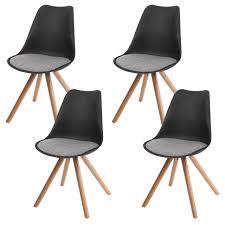 4x Esszimmerstuhl Malmö T501 Retro Design Schwarz Sitzfläche Textil Grau Helle Beine
